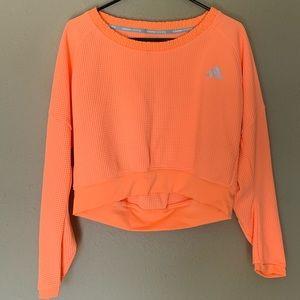 NWOT • Adidas Orange Cropped Waffle Sweater